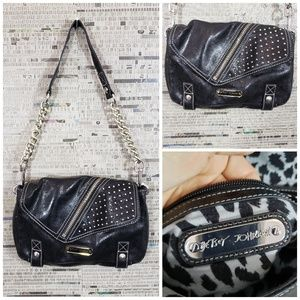Betsey Johnson Black Cow Leather Shoulder Bag